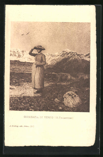 Künstler-AK Giovanni Segantini: Giornata di Vento, Frau mit Hut in den Bergen