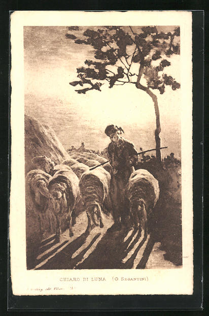 Künstler-AK Giovanni Segantini: Chiaro di Luna, Schafshirte mit Herde