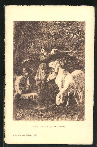 Künstler-AK Giovanni Segantini: Pastorale, Frau mit Schafen und Mann mit Panflöte