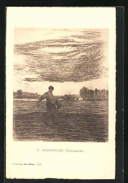 Künstler-AK Giovanni Segantini: LL Seminatore, Mann beim Aussäen auf dem Feld