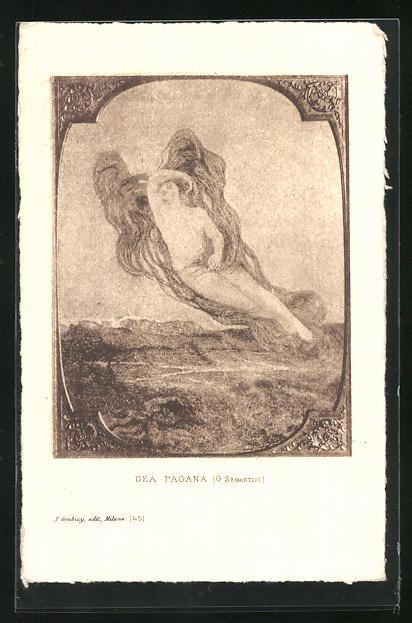 Künstler-AK Giovanni Segantini: Dea Pagana, Frau mit wallenden Flügeln über Landschaft