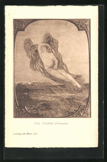 Künstler-AK Giovanni Segantini: Dea Pagana, nackte Frau mit wehenden Flügeln über Gebirgslandschaft