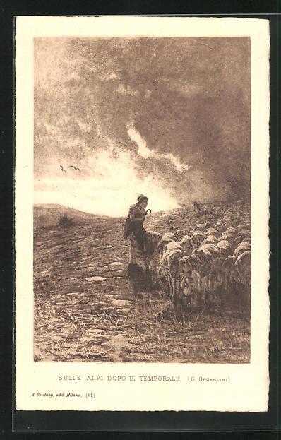 Künstler-AK Giovanni Segantini: Sule Alpi Dopo il temporale, Frau vor dunklen Wolken mit Schafsherde