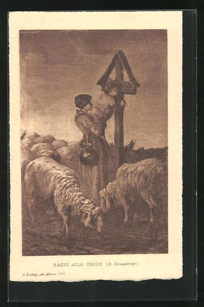 Künstler-AK Giovanni Segantini: Bacio alla Croce, Frau hält Kind hoch, damit es Kreuz küsst, Schafsherde