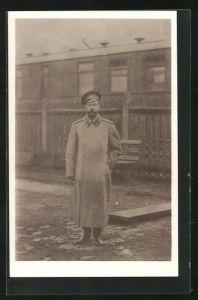 AK Zar Nikolaus II von Russland in Uniformmantel mit Mütze