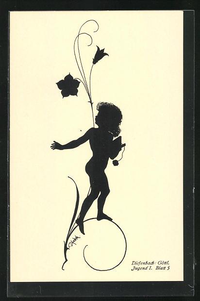 Künstler-AK Diefenbach: Schattenbild, Göttl. Jugend, kleines Kind auf Blumenstängel mit Schreibtafel