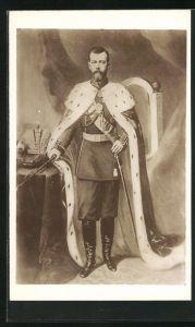 AK Zar Nikolaus II. von Russland, Portrait mit Hermelin