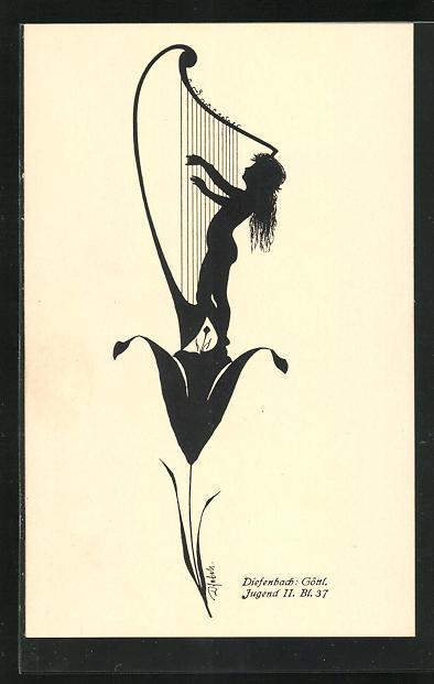 Künstler-AK Diefenbach: Göttl. Jugend II. Bl. 37, Schattenbild, Harfe
