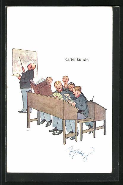 Künstler-AK Fritz Schönpflug: Kartenkunde, Soldatenhumor