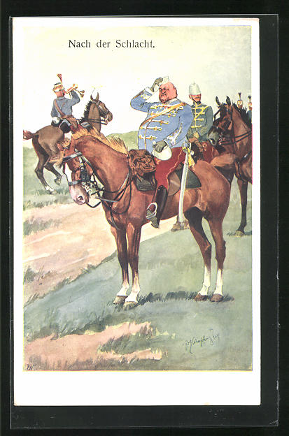 Künstler-AK Fritz Schönpflug: Nach der Schlacht, Soldatenhumor, dicker K.u.K. Offizier