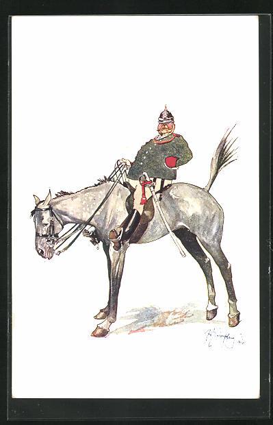 Künstler-AK Fritz Schönpflug: dicker Soldat mit Kehlstück zu Pferd, Soldatenhumor