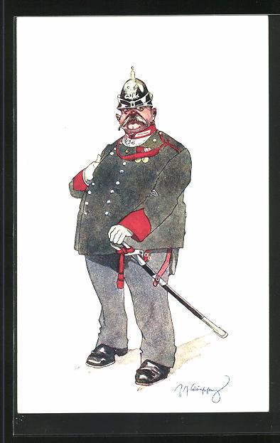Künstler-AK Fritz Schönpflug: dicker Soldat mit Ringkragen, Soldatenhumor