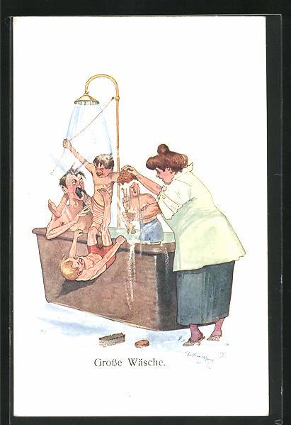 Künstler-AK Fritz Schönpflug: Grosse Wäsche, Scherz, Familienidyll