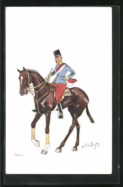 Künstler-AK Fritz Schönpflug: K.u.K. Reiter zu Pferd