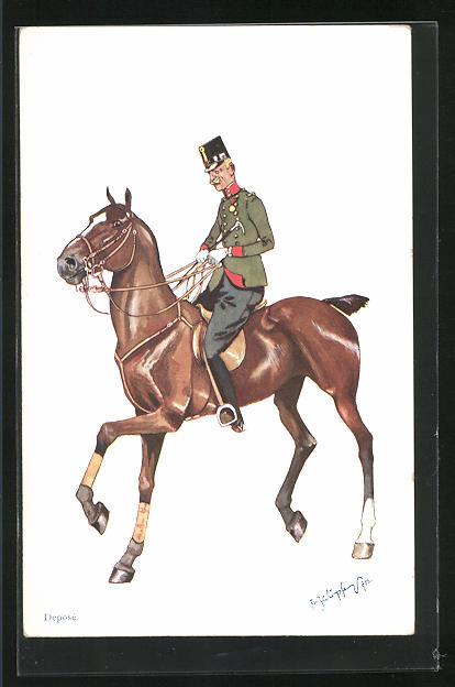 Künstler-AK Fritz Schönpflug: K.u.K. Offizier zu Pferd