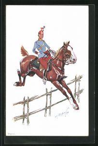 Künstler-AK Fritz Schönpflug: Ulan zu Pferd springt über Zaun