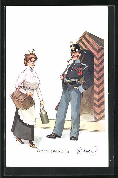 Künstler-AK Fritz Schönpflug: Verehrungsbezeigung, K.u.K.-Soldat und Maid
