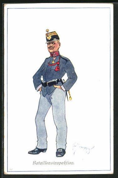 Künstler-AK Fritz Schönpflug: Bataillonsinspektion, K.u.K.-Offizier