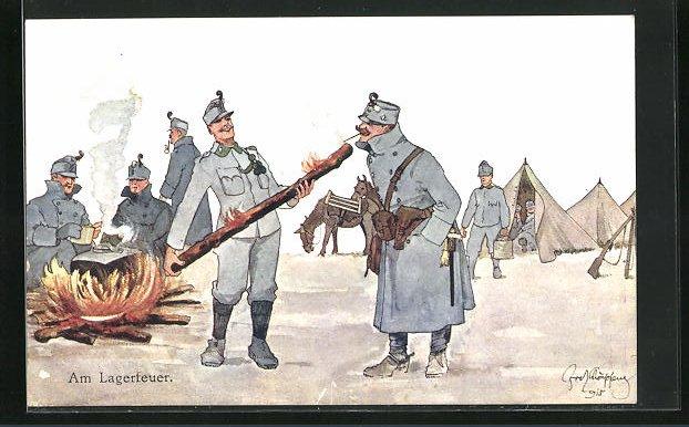 Künstler-AK Fritz Schönpflug: Am Lagerfeuer, K.u.K.-Soldatenhumor