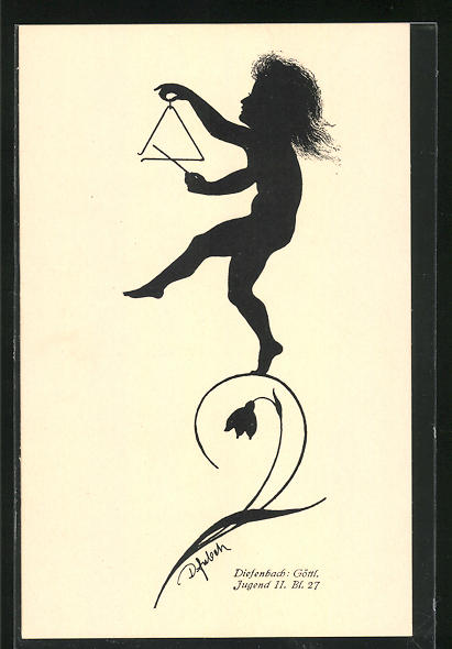 Künstler-AK Diefenbach: Göttl. Jugend II. Bl. 27, Schattenbild, Kind mit Triangel