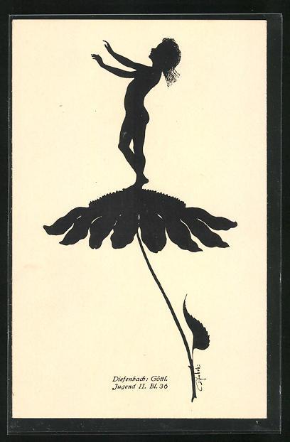 Künstler-AK Diefenbach: Göttl. Jugend II. Bl. 36, Schattenbild, Kind auf Blüte