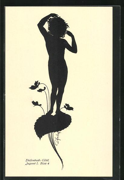 Künstler-AK Diefenbach: Göttl. Jugend I. Blatt 4, Schattenbild, Blumenfee
