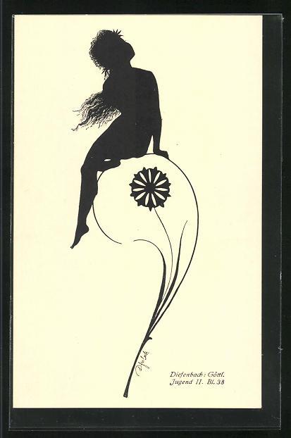 Künstler-AK Diefenbach: Göttl. Jugend II. Bl. 38, Schattenbild, Blumenfee