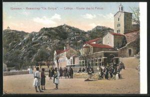 AK Cetinje / Cettigne, Kloster des hl. Petrus mit Bevölkerung