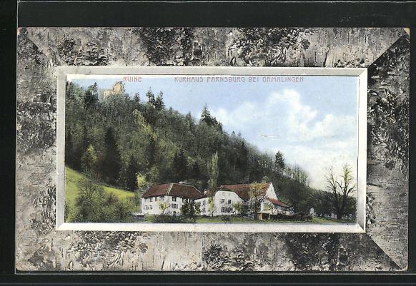 Passepartout-AK Ormalingen, Ruine u. Kurhaus Farnsburg