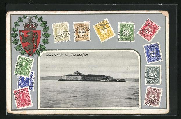 AK Trondheim, Munkeholmen, Wappen & versch. Briefmarken