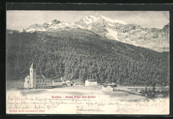 AK Sulden, Hotel Eller mit Kirche und Ortler