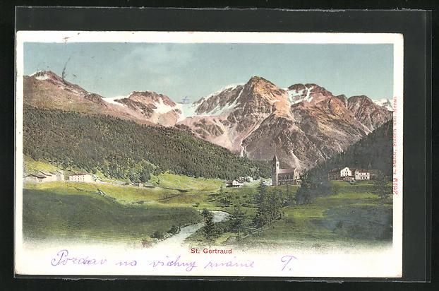 AK St. Gertraud, Ortspartie mit Kirche im Gebirge