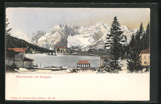 AK Cortina d'Ampezzo, Misurina-See mit Sorapiss im Winter