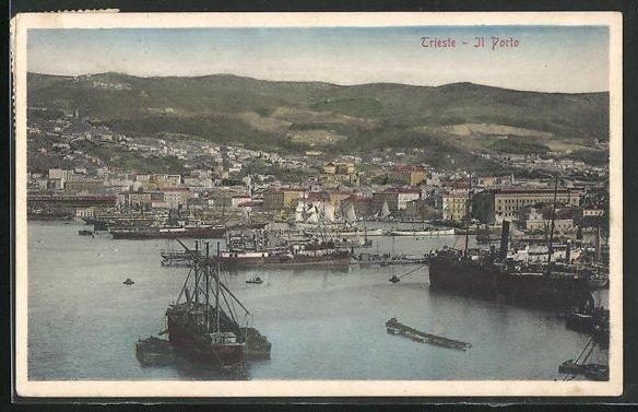 AK Trieste, Il Porto, Teilansicht mit Hafen