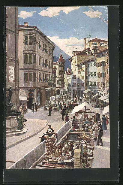 AK Bozen, Obstmarkt in der Stadt