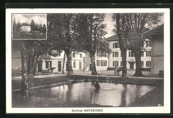 AK Gerzensee, Schloss mit Wasserbecken