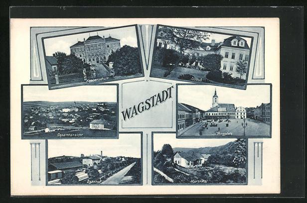 AK Wagstadt, Bahnhof, Knabenschule, Schloss, Ringplatz, Murzkatal