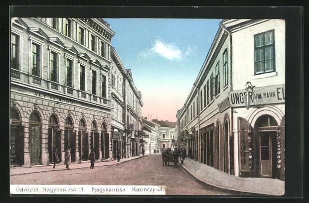AK Nagykanizsa, Kazinczy-út, Blick in eine Strasse