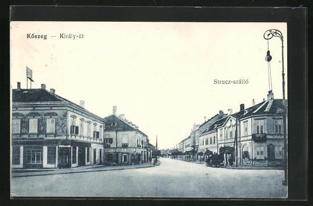 AK Köszeg, Király-út, Strucz-szálló