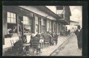 AK Skutari / Shkodra, Blick auf ein türkisches Cafe-Haus