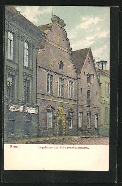 AK Reval, Langstrasse und Schwarzenhäupterhaus