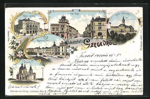 Lithographie Szeged, Kálvária, Hid-utcza, Városi szinház