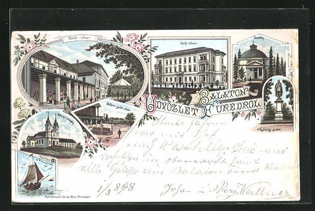 Lithographie Balatonfüred, Clotild udvar, Ipoly udvar, Templom