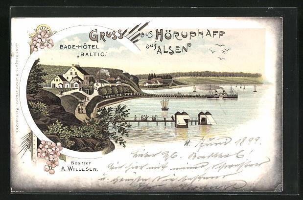 Lithographie Höruphaff / Alsen, Bade-Hotel Baltic, Besitzer A. Willesen