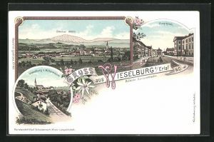 Lithographie Wieselburg a. Erlaf, Hauptplatz, Ortsansicht gegen Ötscher, Ortsansicht von Mitterwasser