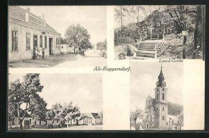 AK Alt-Ruppersdorf, Gemeinde-Gasthaus, Lourd-Grotte, Kirche und Ortspartie