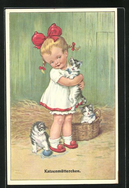 AK Katzenmütterchen mit roter Schleife im Haar