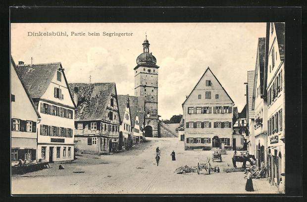 AK Dinkelsbühl, Segringerstrasse mit Segringertor