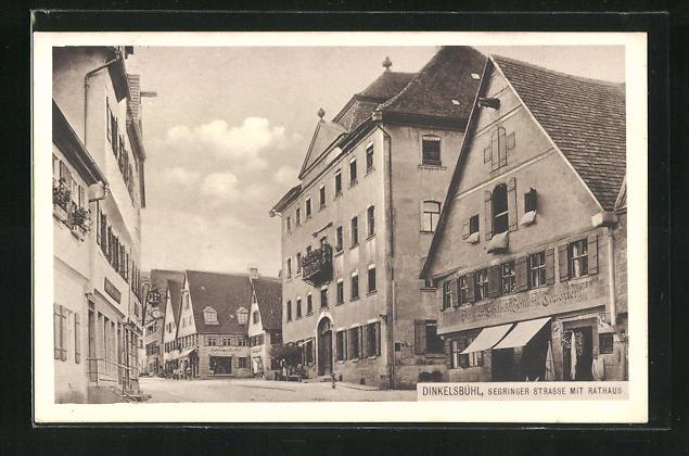 AK Dinkelsbühl, Segringer Strasse mit Rathaus