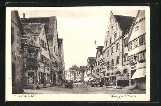 AK Dinkelsbühl, Segringerstrasse mit Hotel goldene Kanne